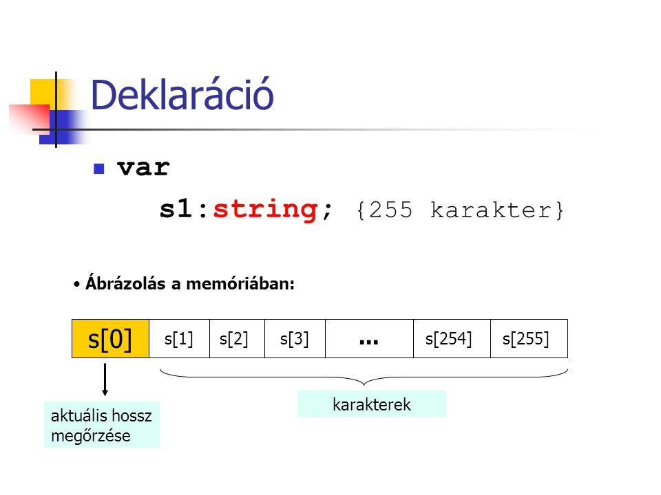 Deklaráció var s1:string; {255 karakter} s[0] ...